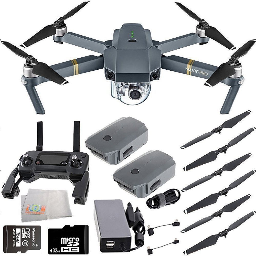DJI Mavic Pro Quadcopter Drone with Manufacturer Accessories + Extra Intelligent Flight Battery + 32GB Micro SD Memory Card + Microfiber Cleaning Cloth