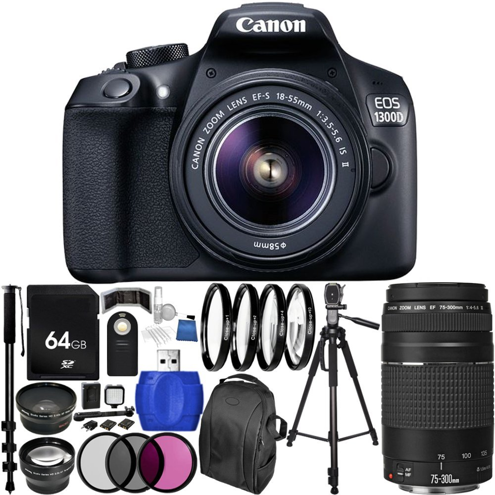 Canon EOS 1300D/Rebel T6 DSLR Camera with EF-S 18-55mm f/3.5-5.6 IS II Lens & EF 75-300mm f/4-5.6 III Lens 64GB Bundle 28PC Accessory Kit. Includes 64GB Memory Card + 0.43x Wide Angle Lens + 2.2x Telephoto Lens + 3PC Filter Kit (UV-CPL-FLD) + MORE