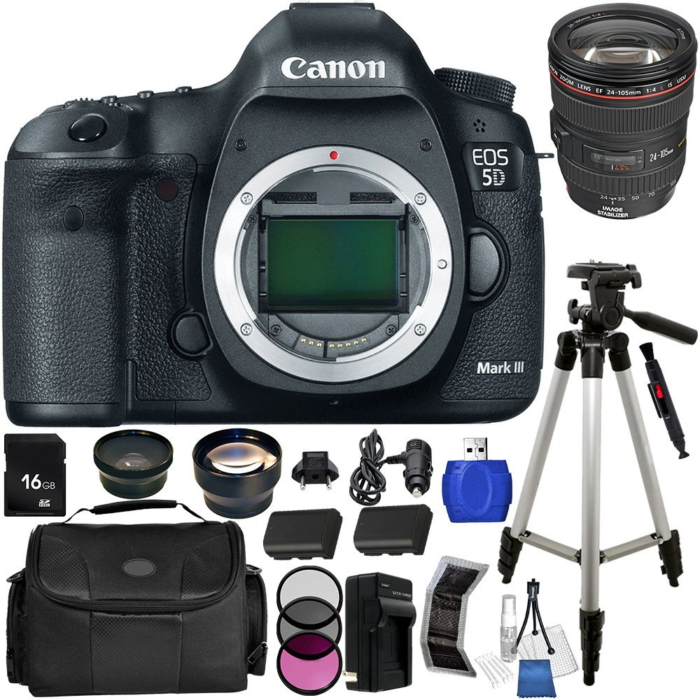 Canon EOS 5D Mark III Digital Camera Kit with Canon 24-105mm f/4L IS USM AF Lens. Includes 0.45X Wide Angle Lens, 2X Telephoto Lens, 3 Piece Filter Kit (UV-CPL-FLD), 16GB Memory Card, Tripod & More - 5260B009