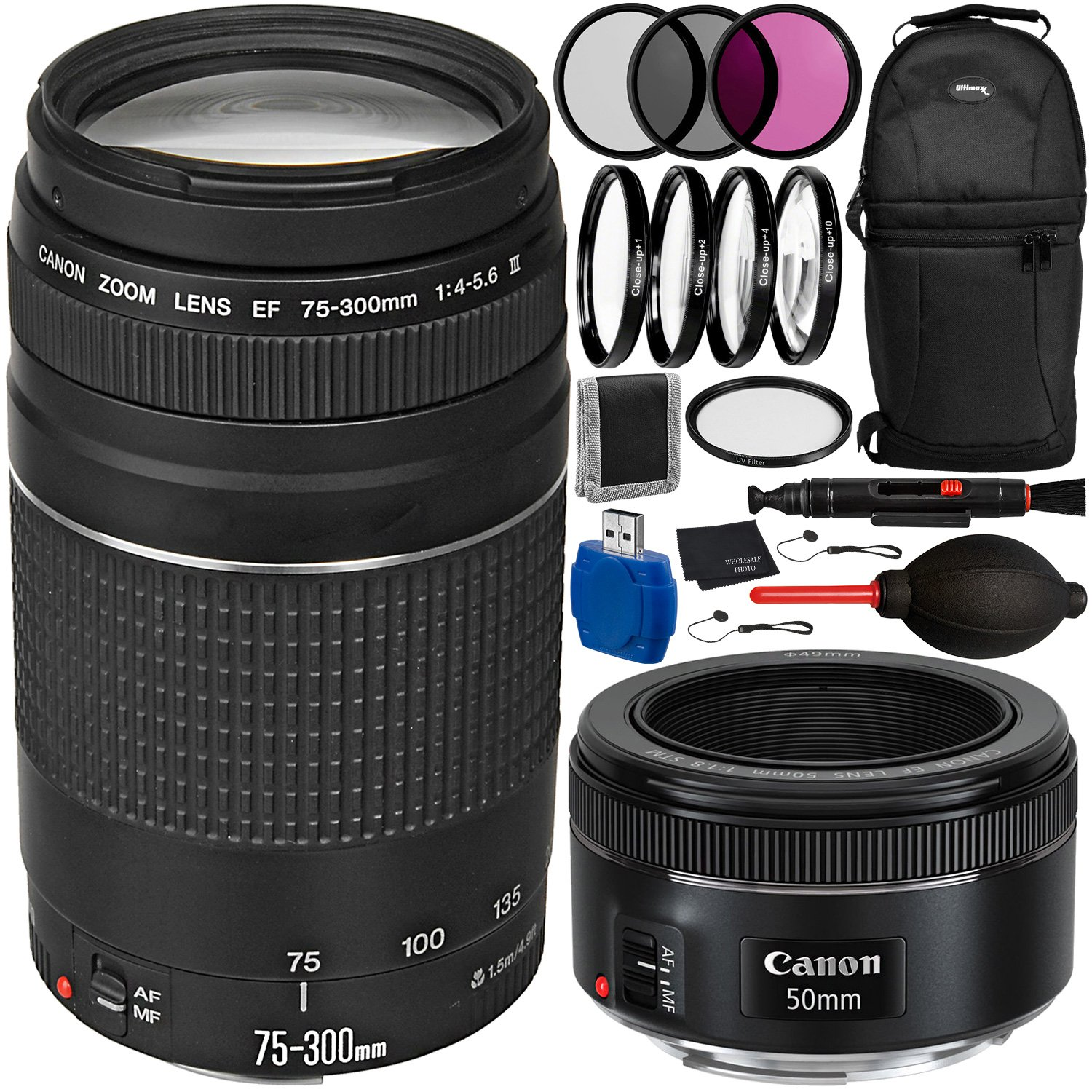 Canon EOS 70D DSLR Camera with 75-300mm f/4.0-5.6 III & 50mm f/1.8 STM Lenses Bundle