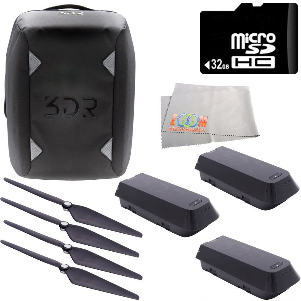 3DR Solo 32GB Bundle 11PC Accessory Kit. Includes 3DR Solo Flight Battery + 2 3DR Propeller Sets + 3DR Solo Backpack + 32GB microSD Memory Card + Microfiber Cleaning Cloth