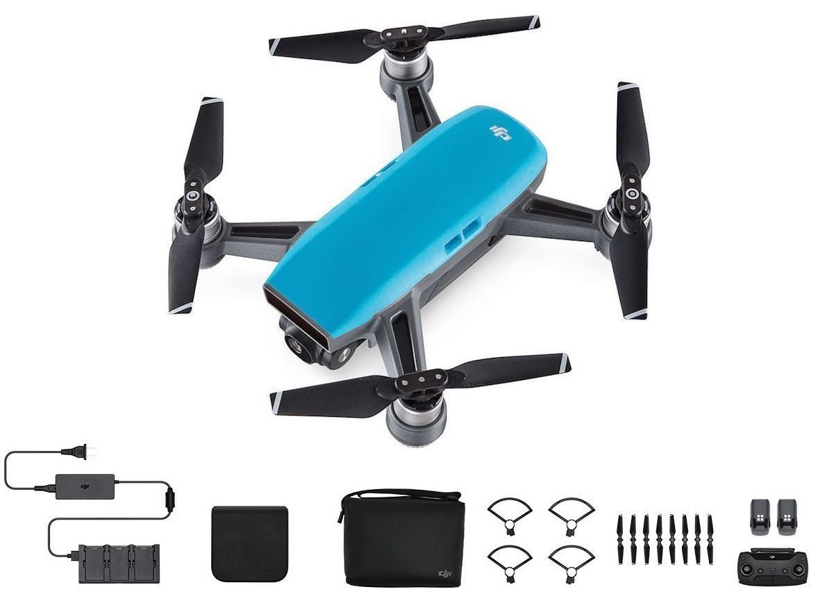DJI Spark Portable Mini Drone Quadcopter Fly More Combo 3 Battery Bundle (Sky Blue)