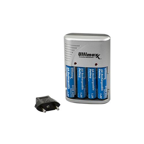 Ultimaxx 4 AA NiMH BATTERIES w/CHARGER (ALSO CHARGES AAA/9V)