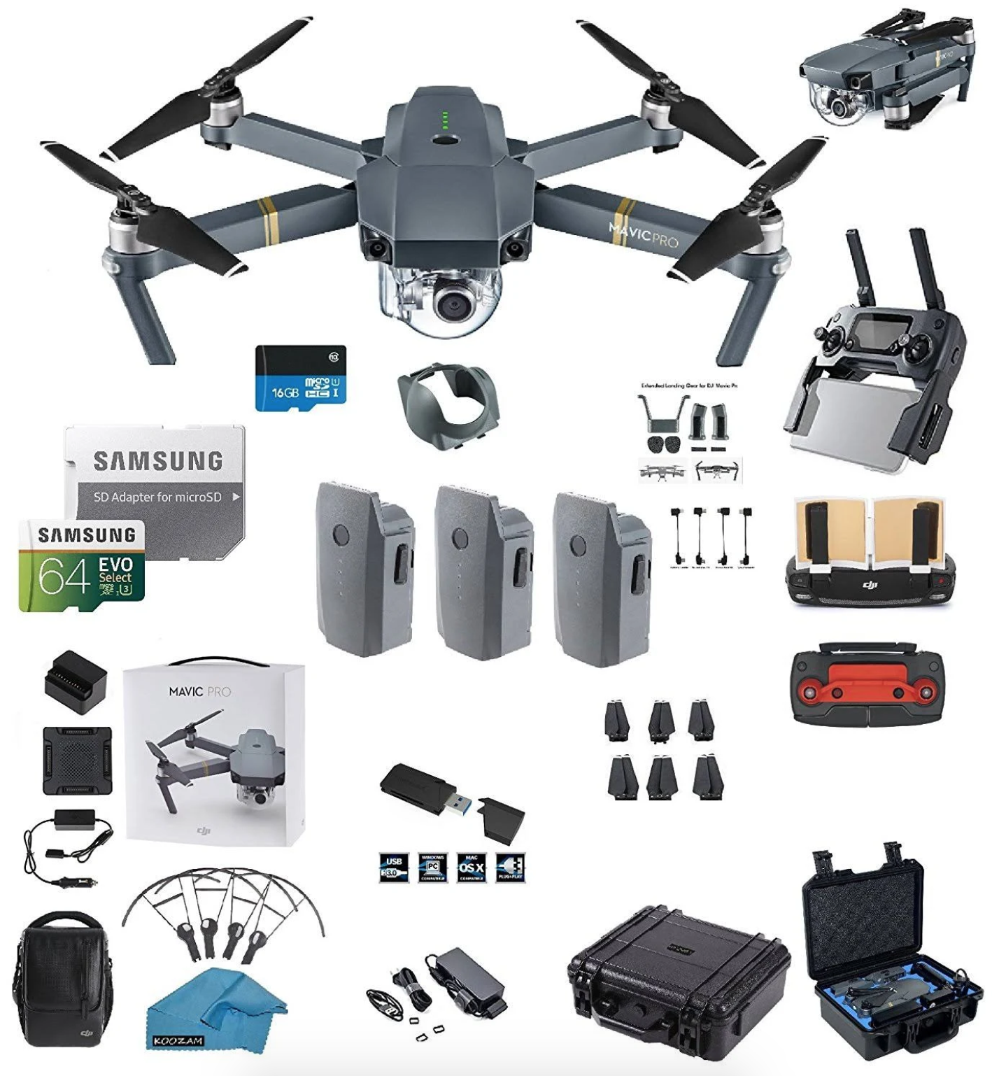 DJI Mavic Pro Bundle with 3 Total Batteries, DJI Bag + 64GB SD Card + Reader, Car Charger, Range Extender, Landing Gear, Prop Guards + HardCase