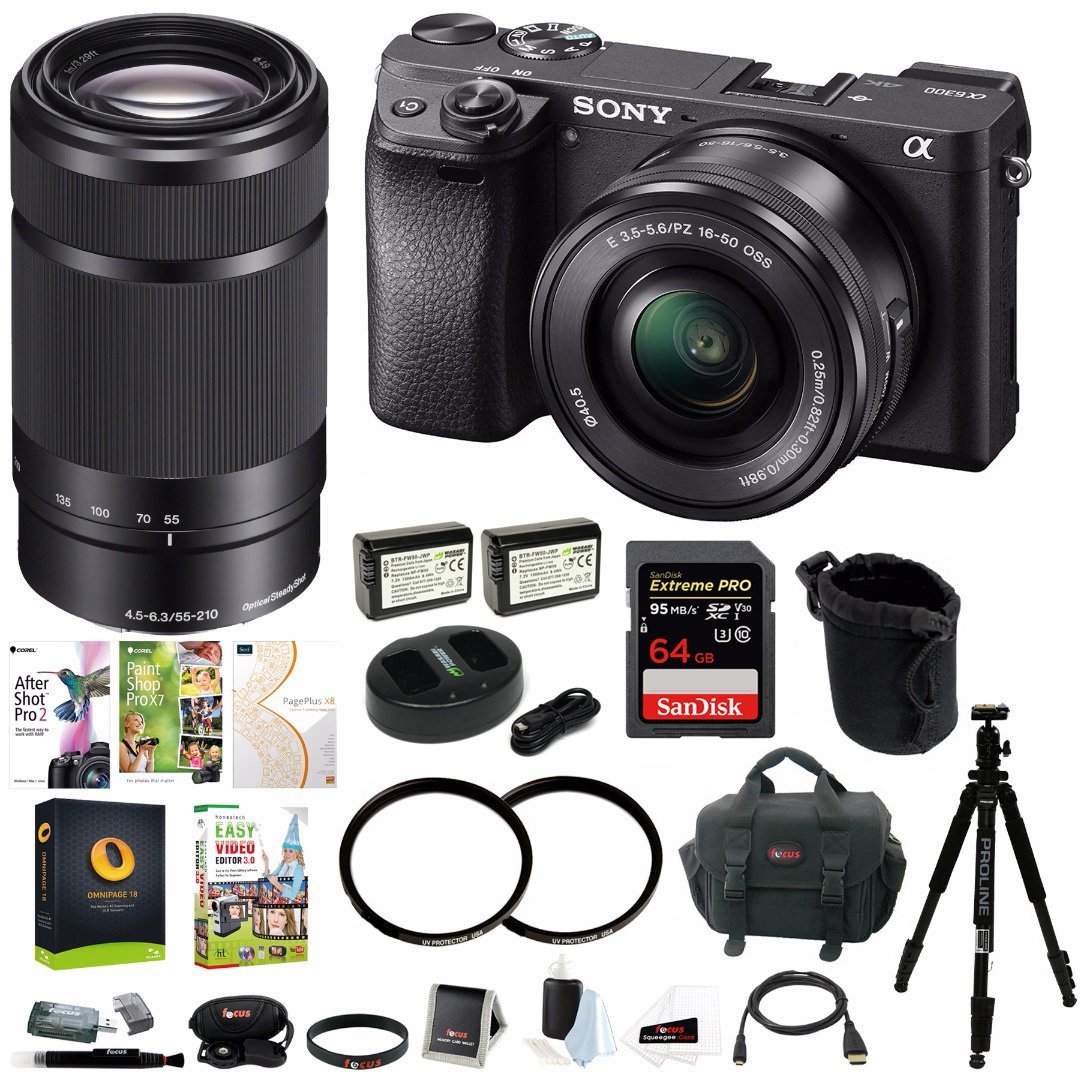 Sony Alpha a6300 Mirrorless Digital Camera with 16-50mm and 55-210mm Lenses Kit