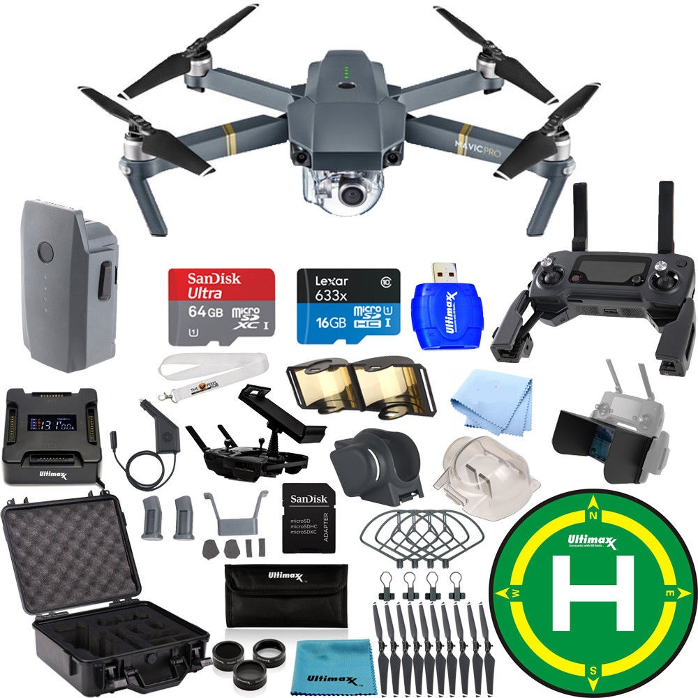 DJI Mavic Pro FLY MORE COMBO Collapsible Quadcopter Black Aluminum Hardshell Case Starters Bundle