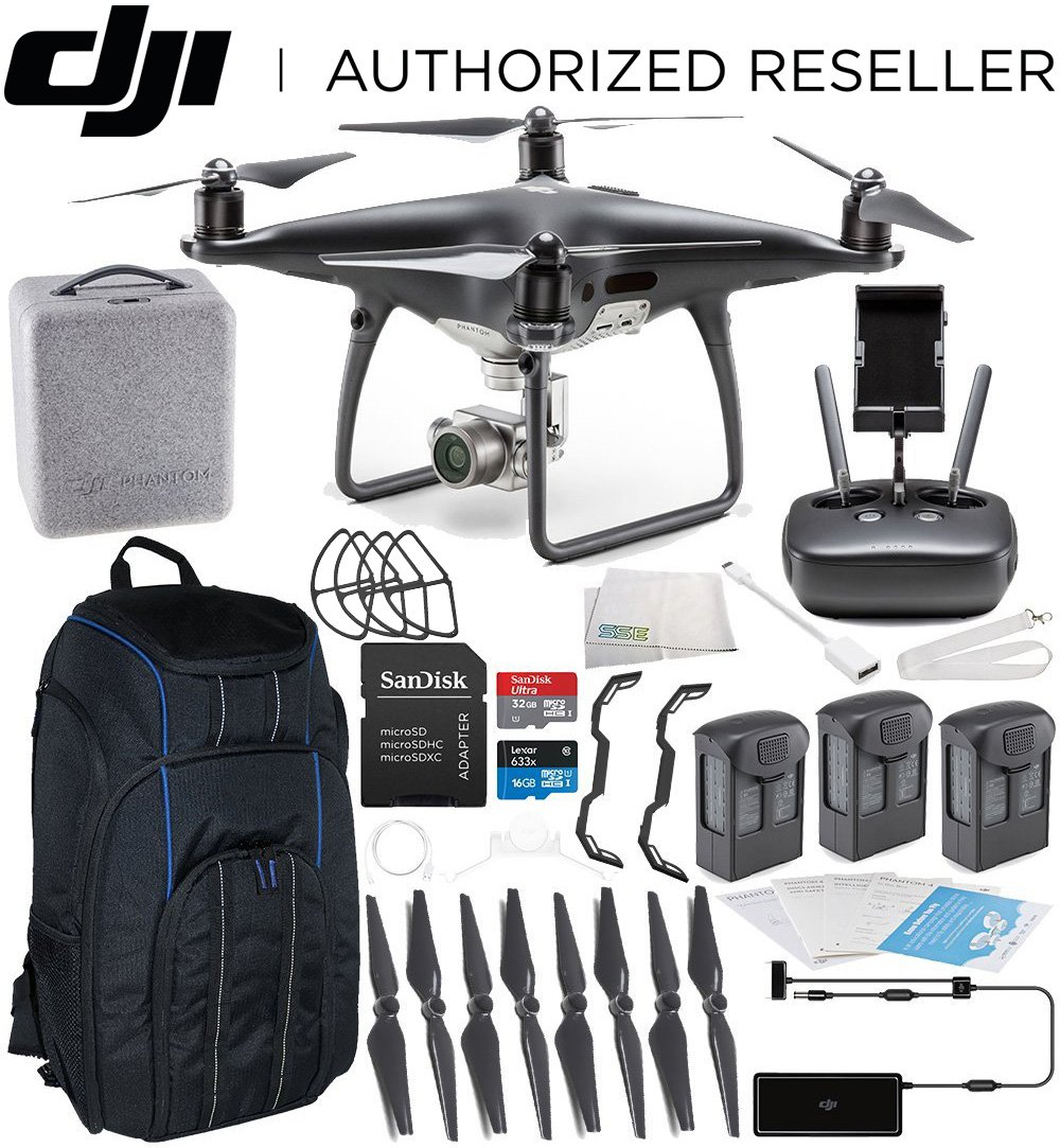 DJI Phantom 4 PRO PLUS Obsidian Edition Drone Quadcopter (Black) Ultimate Hardshell Backpack Bundle