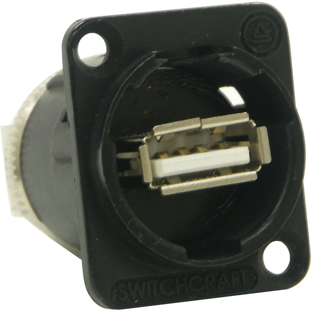 Switchcraft USB-A To USB-B Fedthru Jack, Black  PKG