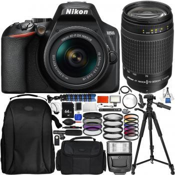 Nikon D3500 DSLR Camera with 18-55mm Lens, AF Zoom Nikkor 70-300mm f4-5.6G Lens (Black) & Accessory Bundle