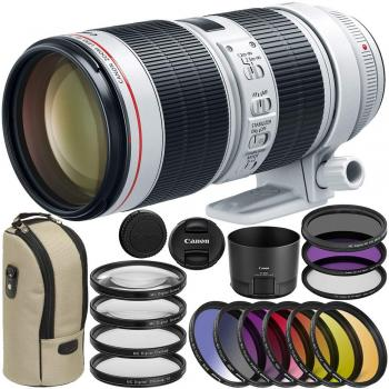 Image of Canon EF 70-200mm F/2.8L IS III USM Lens 9pc Accessory Bundle + 3PC Filter Kit (UV-CPL-FLD) + More