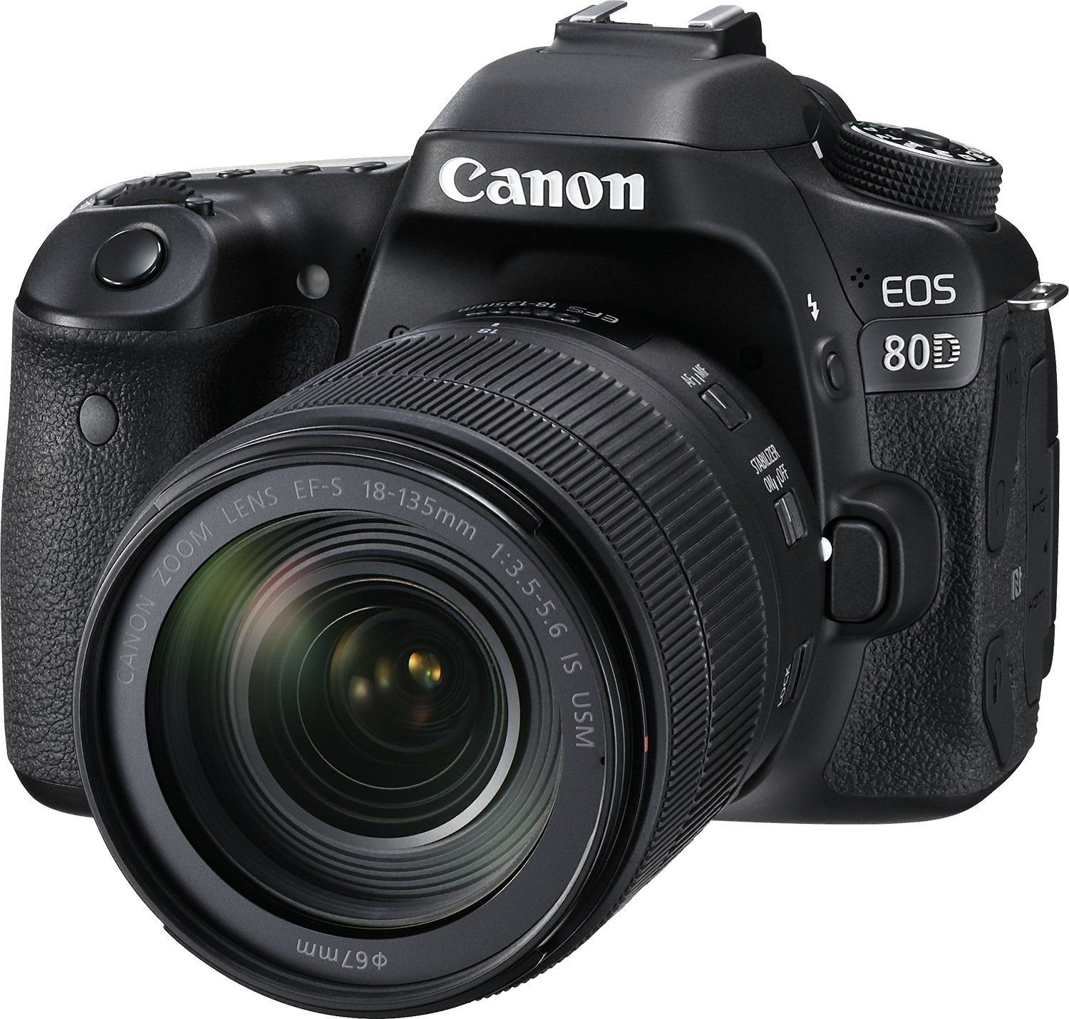 Canon EOS 80D Digital SLR Camera with EF-S 18-135mm IS USM (Black) 19PC Professional Bundle