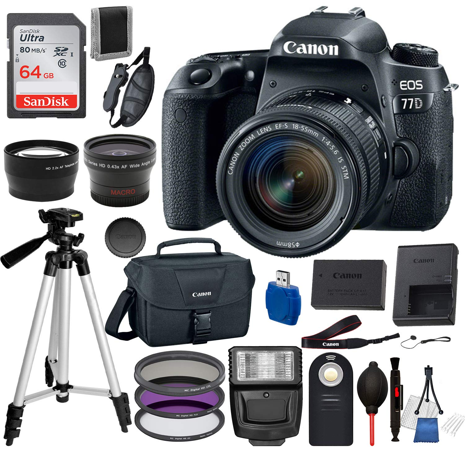 Canon EOS 77D Digital SLR Camera with EF-S 18-55mm IS STM USA (Black) 19PC Professional Bundle