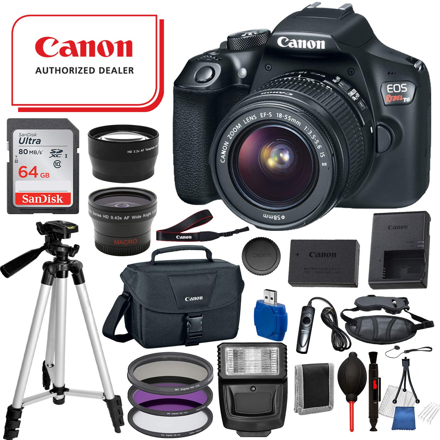 Canon EOS Rebel T6 Digital SLR Camera with EF-S 18-55mm IS II USA (Black) 19PC Professional Bundle