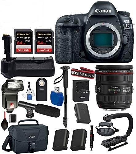 Canon EOS 5D Mark IV Digital SLR Camera with EF 24-70mm f/4L IS USM  (Black) 19PC Professional Bundle