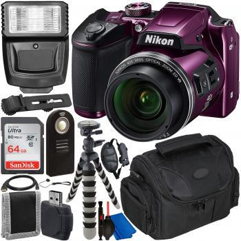 Nikon COOLPIX B500 Digital Camera (Plum) with Accessory Bundle