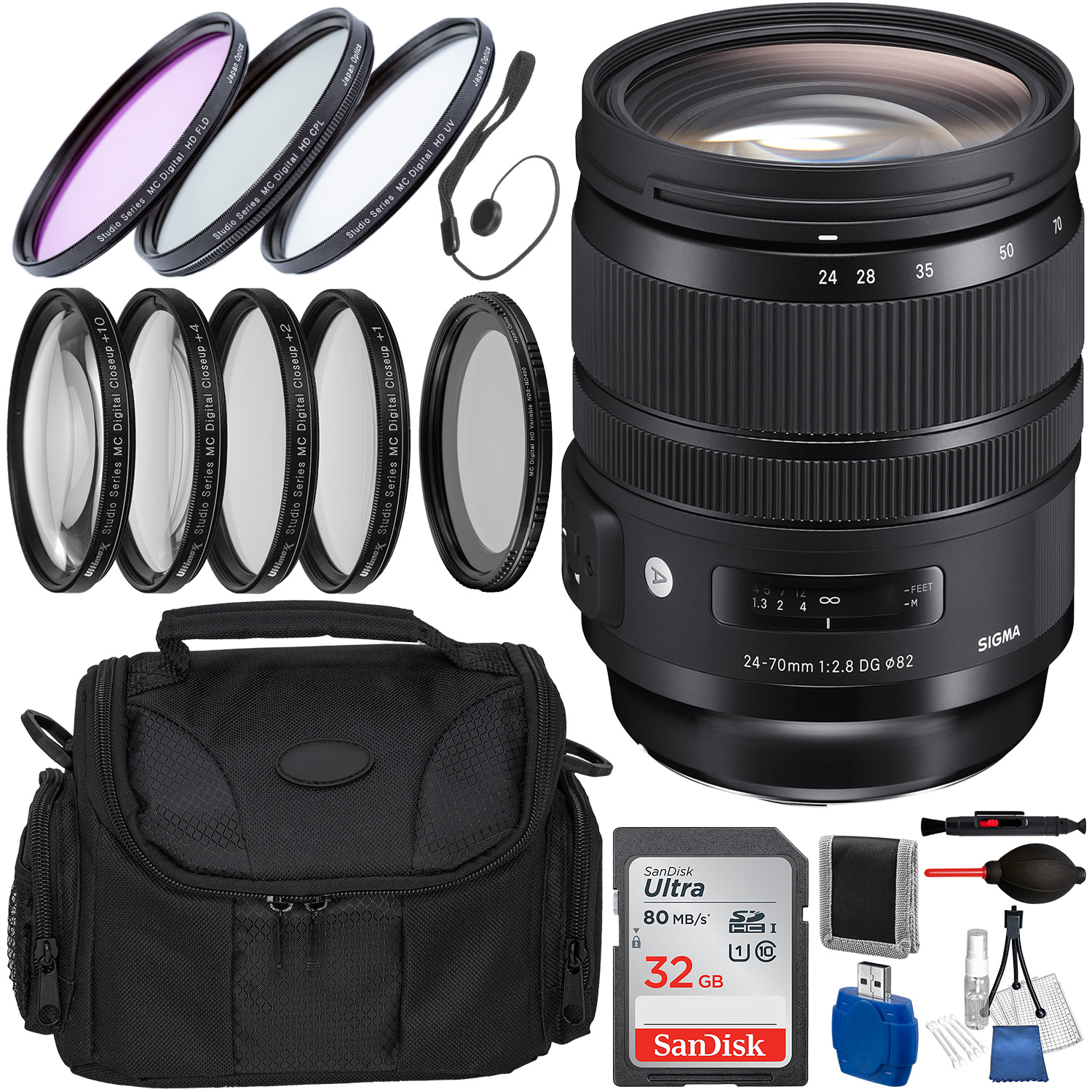 Sigma 24-70mm f/2.8 DG OS HSM Art Lens for Nikon F and Accessory Bundle