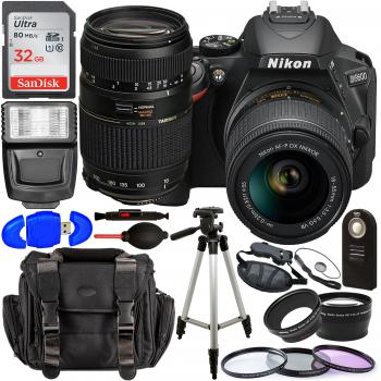 Nikon D5600 DSLR Camera with 18-55mm Lens (Black) – 1576 with Tamron 70-300mm Lens for Nikon AF - AF017NII-700 and Accessory Bundle