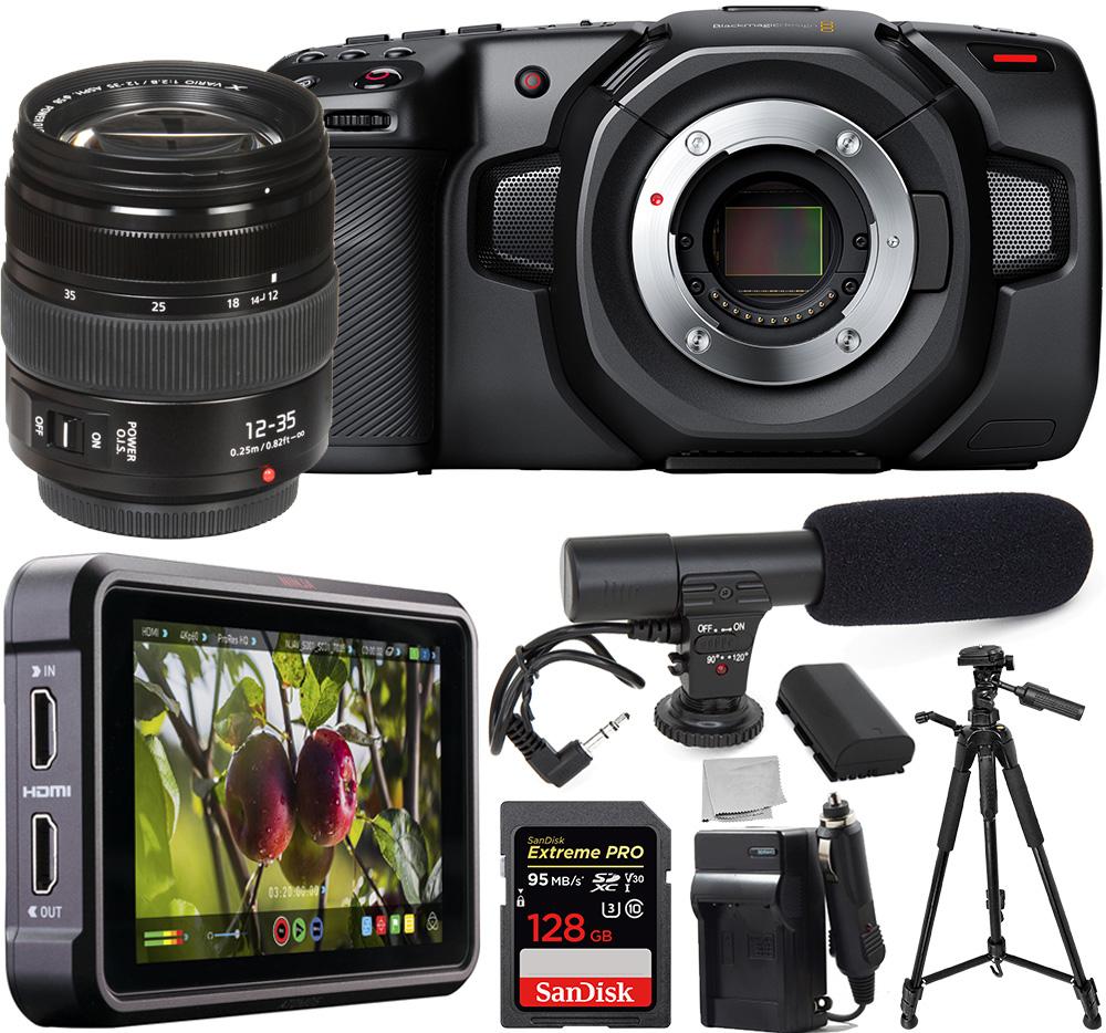 Blackmagic Design Pocket Cinema Camera 4K - CINECAMPOCHDMFT4K with Panasonic Lumix G X Vario 12-35mm Lens - H-HSA12035 and Atomos Ninja V 5