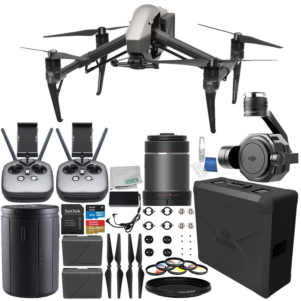 DJI Inspire 2 Quadcopter with Zenmuse X7 Camera & Gimbal + Zenmuse X7 DL-S 16mm F2.8 ND ASPH Lens Professional Bundle