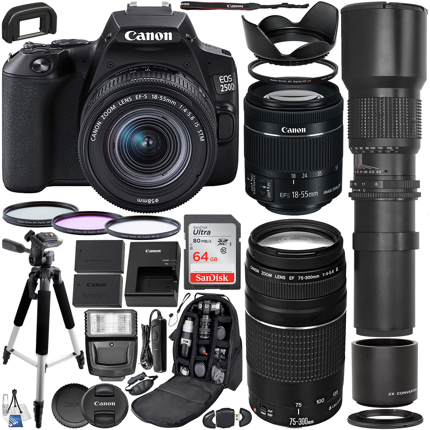 Canon EOS 250D (Rebel SL3) DSLR Camera with 18-55mm & 75-300mm Canon Lenses & 500mm Lens with 2x Teleconverter (1000mm) & Premium Accessory Bundle