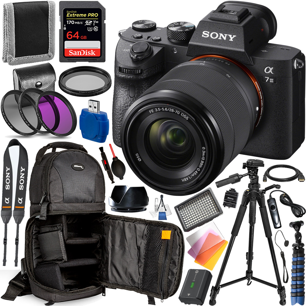 Sony Alpha a7 III Mirrorless Digital Camera with 28-70mm Lens - ILCE7M3K/B and Professional Accessory Bundle