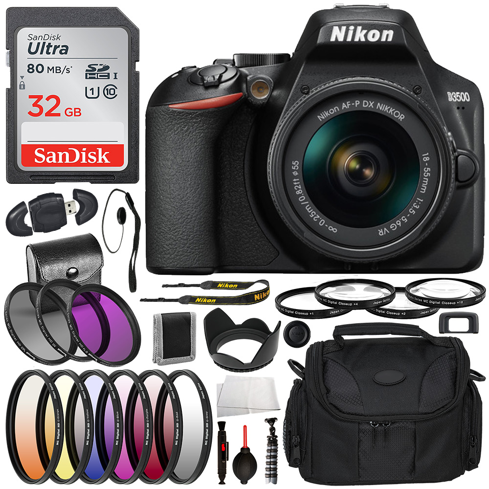 Nikon D3500 DSLR Camera with 18-55mm Lens - 1590 and Deluxe Bundle