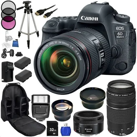 Image of Canon EOS 6D Mark II DSLR Camera Triple Lens Kit With Canon 24-105mm, 75-300mm F/4.0-5.6 III & 50mm F/1.8 STM Lenses