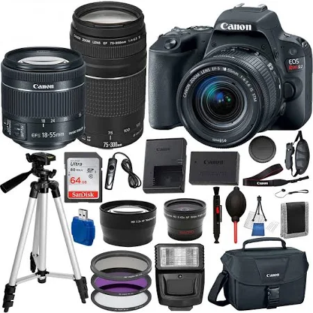 Canon EOS Rebel SL2 DSLR Camera with EF-S 18-55mm STM and Canon EF 75-300mm Telephoto Lens USA (Black) 19PC Professional Bundle