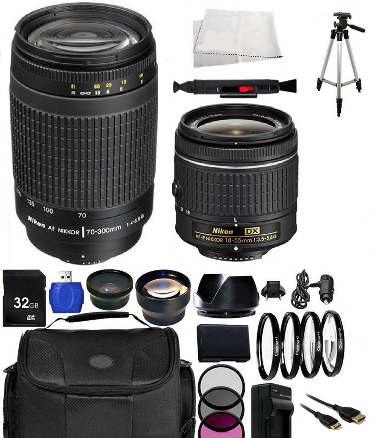 Image of Nikon AF-P DX NIKKOR 18-55mm F/3.5-5.6G Lens With Nikon AF Zoom-NIKKOR 70-300mm F/4-5.6G Lens And Accessory Kit