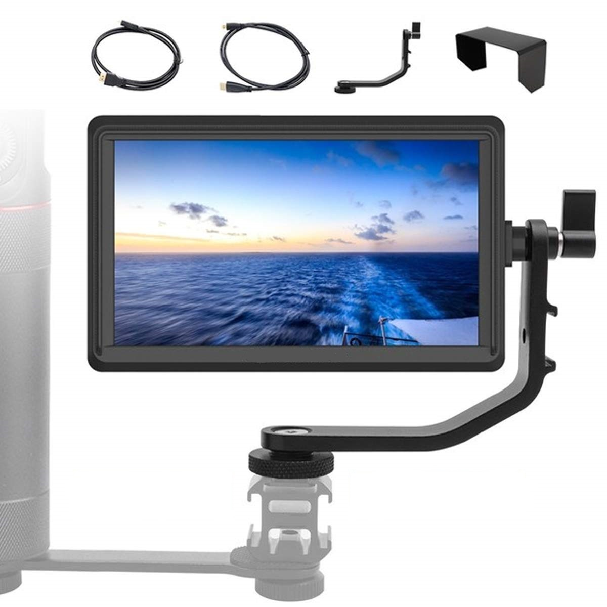 Feelworld Master MA6F 5.5 Inch DSLR Monitor 4K HDMI 8.4V DC in/Out, Full HD 1920x720p LCD Camera Field Monitor Tilt Arm Included