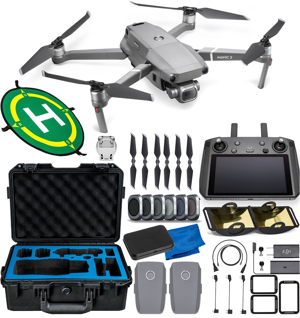 DJI Mavic 2 Pro with Smart Controller - CP.MA.00000021.01 with Waterproof Hard-Shell Case for Mavic 2 Pro/Zoom and Accessory Bundle