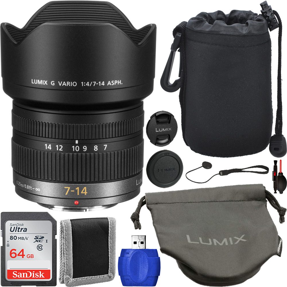 Image of Panasonic Lumix G Vario 7-14mm F/4 ASPH. Lens - H-F007014 Starter Bundle
