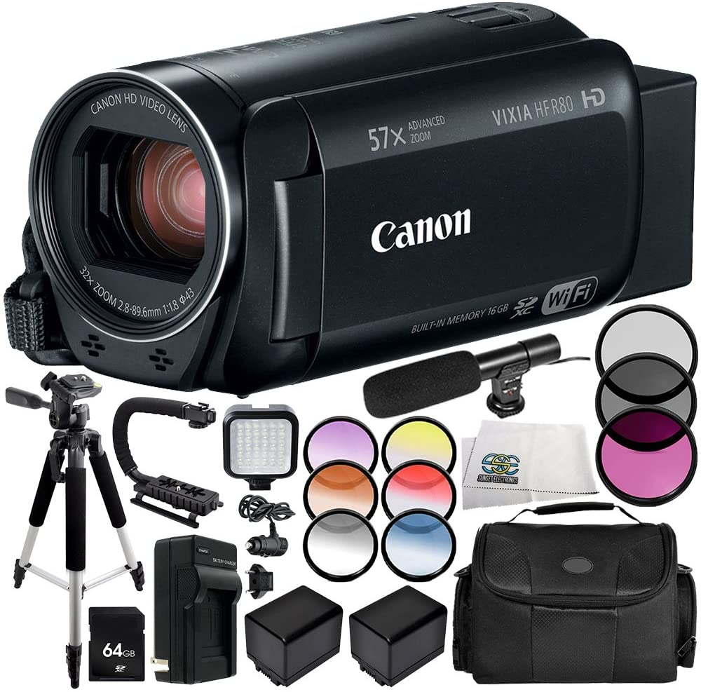 Canon VIXIA HF R80 Camcorder 13PC Accessory Bundle – Includes 64GB SD Memory Card, 3 Piece Filter Kit (UV, CPL, FLD), More