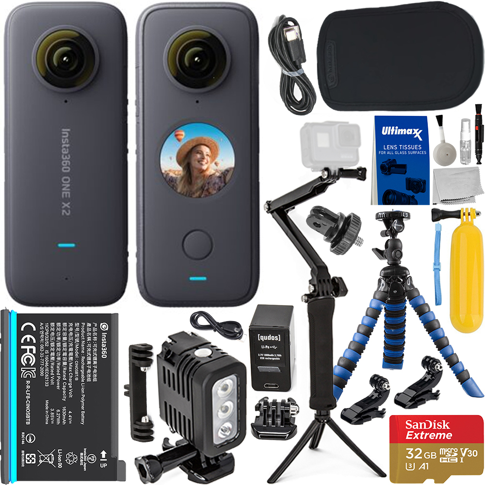 """Image of Insta360 ONE X2 With Action Bundle: Bundle Includes — SanDisk 32GB Extreme MicroSDHC Card, 3-Way Selfie Stick/Tripod, Floating Hand Grip, 12"""" Gripster Tripod, Insta360 Carrying Case, And Much More."""