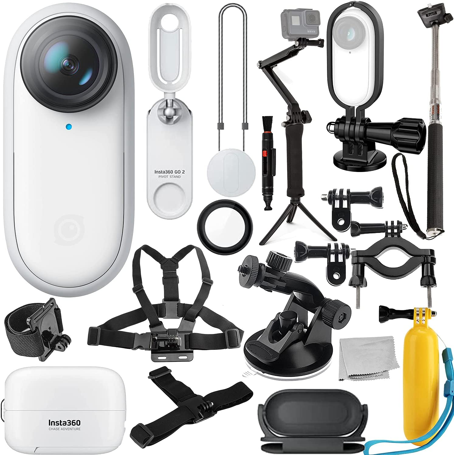 """Image of Insta360 GO 2 Action Camera With Deluxe Bundle - Includes: Action Camera Frame Adapter For Insta360 GO2, Selfie Stick, Suction Cup Mount, Floating """"Bobber"""" Handle, Pipe/Bike Mount & Much More"""